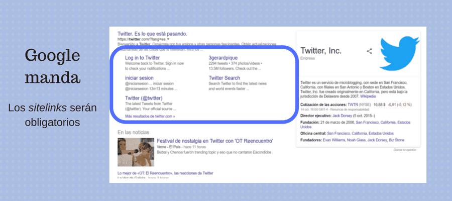 seo sitelinks google obligatorios twitter ot reencuentro